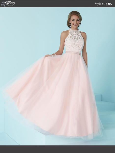 16209 (ivory & pink) Prom dress by Tiffany Designs