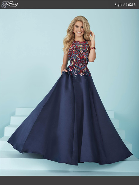 16213 (navy) Prom dress by Tiffany Designs