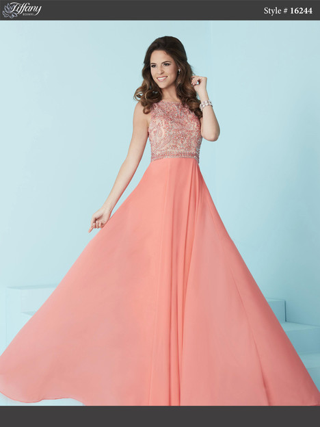 16244 (hot coral) Prom                                             dress by Tiffany Designs