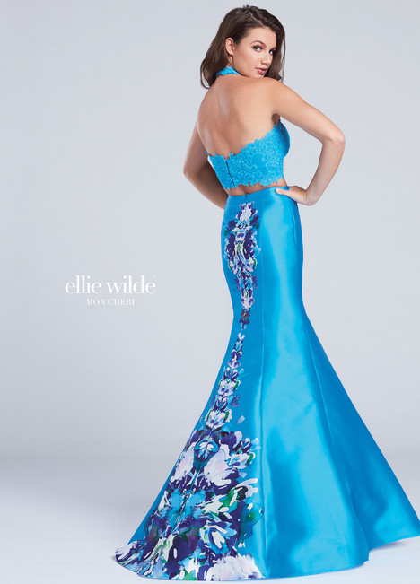 EW117004 (back) (turquoise) Prom                                             dress by Ellie Wilde
