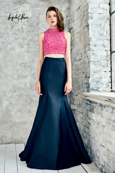 771025 (fuchsia + black) Prom                                             dress by Angela & Alison Prom