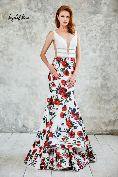 771030 (ivory + floral) Prom                                             dress by Angela & Alison Prom