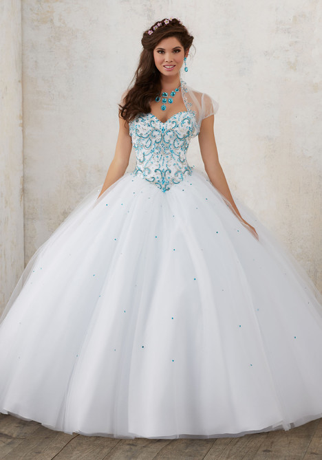 60012 (white + turquoise) Prom dress by Morilee Valencia