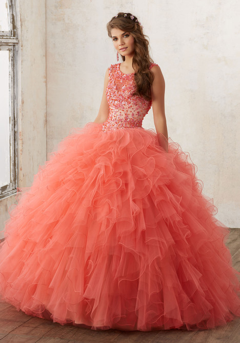 60013 (coral + nude) Prom                                             dress by Mori Lee : Valencia