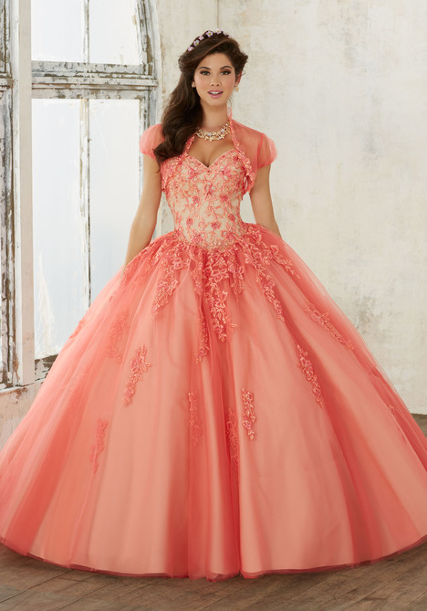 60016 (coral + nude) Prom                                             dress by Mori Lee : Valencia