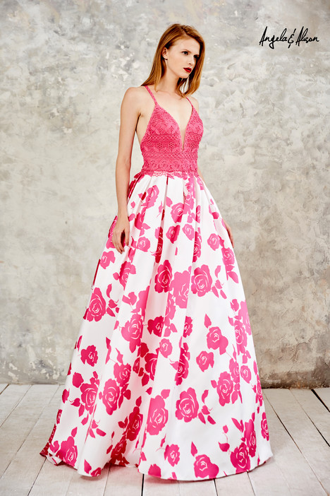 771111 (fuchsia + floral) gown from the 2017 Angela & Alison Prom collection, as seen on dressfinder.ca