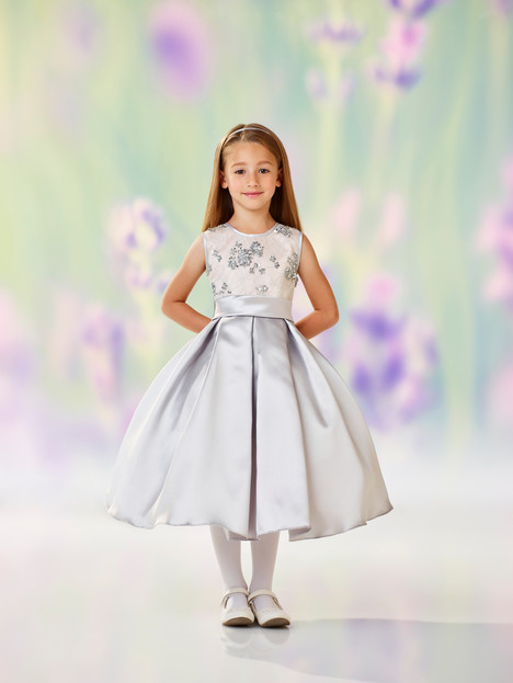 118313 (silver + nude) Flower Girl                                      dress by Joan Calabrese