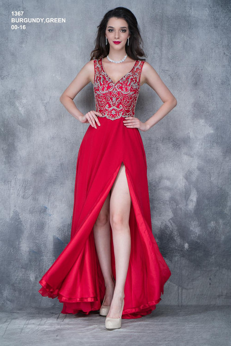 1367 (burgandy) gown from the 2018 Nina Canacci collection, as seen on dressfinder.ca