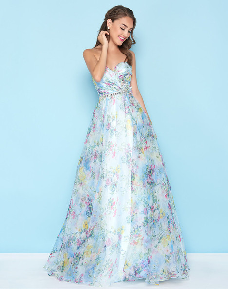 40768H (Blue Floral) Prom                                             dress by Mac Duggal : Ball Gowns