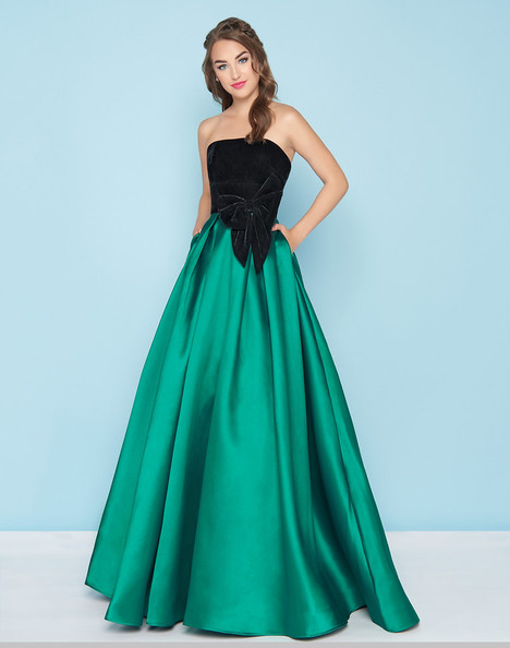 66318H (Emerald + Black) Prom dress by Mac Duggal : Ball Gowns