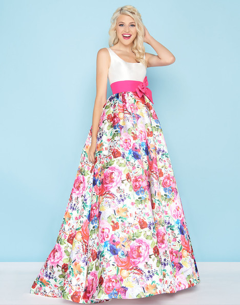 66324H (Ivory + Floral) Prom                                             dress by Mac Duggal : Ball Gowns