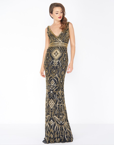 4595R (Black Gold) Prom dress by Mac Duggal : Black White Red