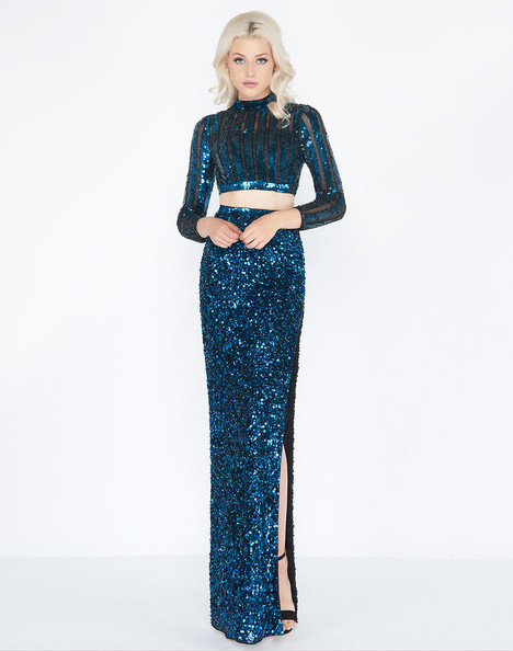 4650A (Black + Teal) Prom                                             dress by Cassandra Stone