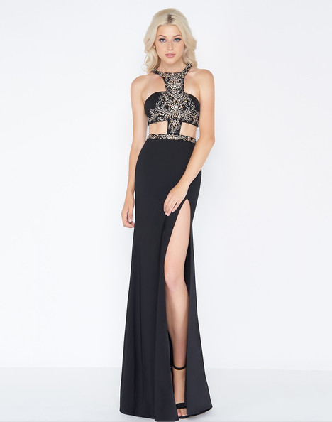 50415A (Black + Gold) Prom                                             dress by Cassandra Stone