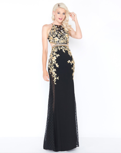 40843M (Black + Gold) Prom                                             dress by Mac Duggal Prom