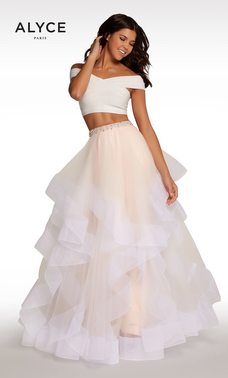 101 (White + Champagne + Pink) Prom                                             dress by Alyce Paris