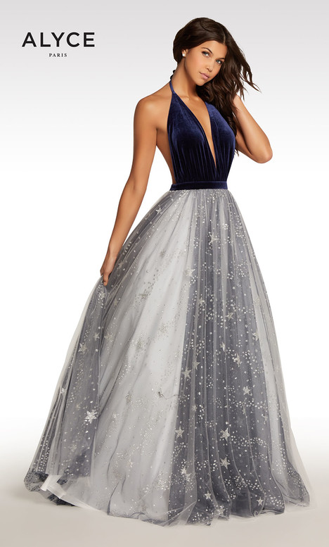 104 (Navy + White) Prom                                             dress by Alyce Paris