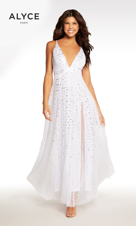 116 (White + Silver) Prom                                             dress by Alyce Paris