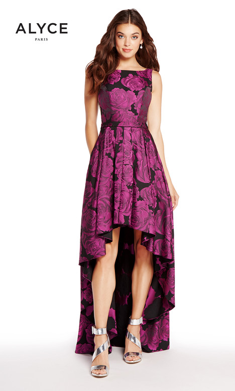 60166 (Purple Print) gown from the 2018 Alyce Paris collection, as seen on dressfinder.ca