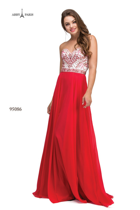 95086-Hot Red Prom                                             dress by Abby Paris