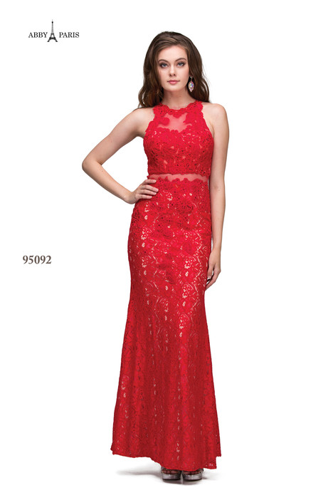 95092-Red Prom dress by Abby Paris