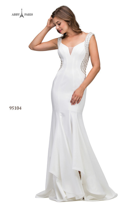 95104-White Prom                                             dress by Abby Paris