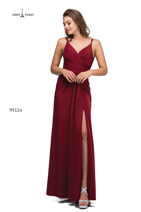 95124-Burgundy Prom                                             dress by Abby Paris