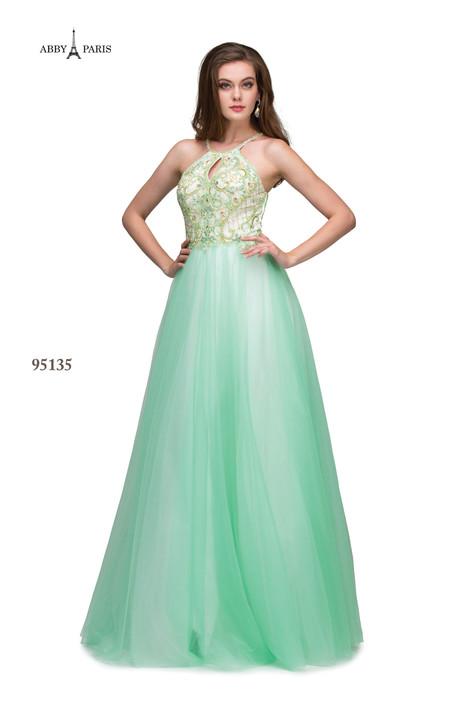 95135-Pistachio Prom dress by Abby Paris