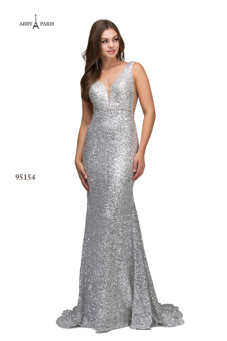 95154-Silver Prom                                             dress by Abby Paris