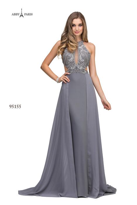 95155-Silver Grey Prom                                             dress by Abby Paris