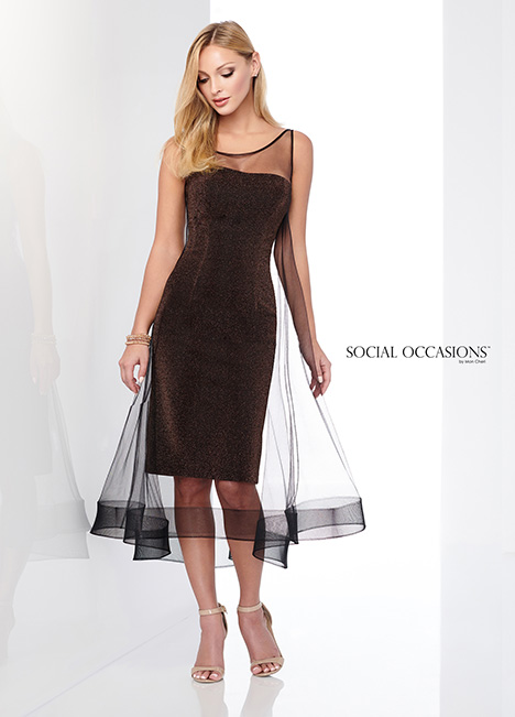 218802 (Bronze/Black) Mother of the Bride                              dress by Mon Cheri: Social Occasions
