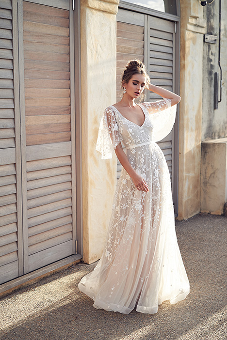 Amelie (Draped Sleeves) Wedding                                          dress by Anna Campbell