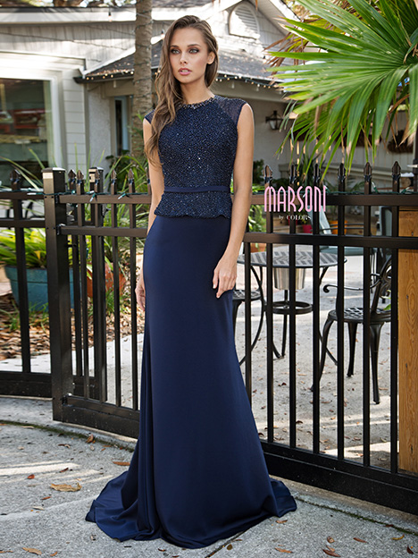 M191 (Navy) gown from the 2018 Marsoni by Colors collection, as seen on dressfinder.ca