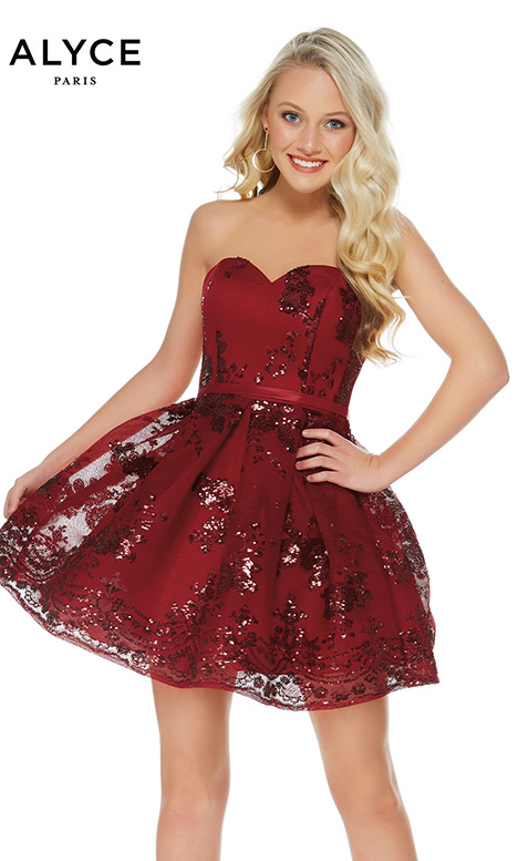 2650 (Burgundy) gown from the 2018 Alyce Paris: Semi Formal collection, as seen on dressfinder.ca