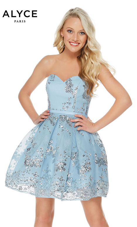 2650 (Blue/Silver) Prom                                             dress by Alyce Paris: Semi Formal