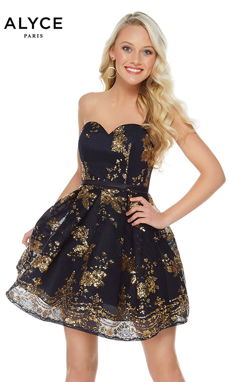 2650 (Navy/Gold) gown from the 2018 Alyce Paris: Semi Formal collection, as seen on dressfinder.ca