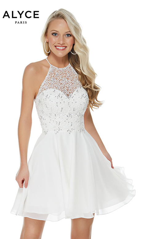 3717 (Diamond White) Prom dress by Alyce Paris: Semi Formal