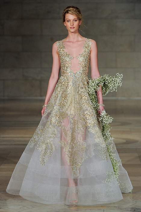 Look 23 Gold Plated Wedding                                          dress by Reem Acra