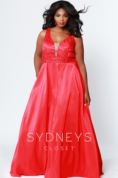 SC 7258 Red gown from the 2019 Sydney's Closet Prom+ collection, as seen on dressfinder.ca