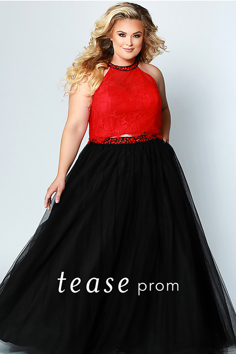 TE 1717 Red Prom dress by Tease Prom+